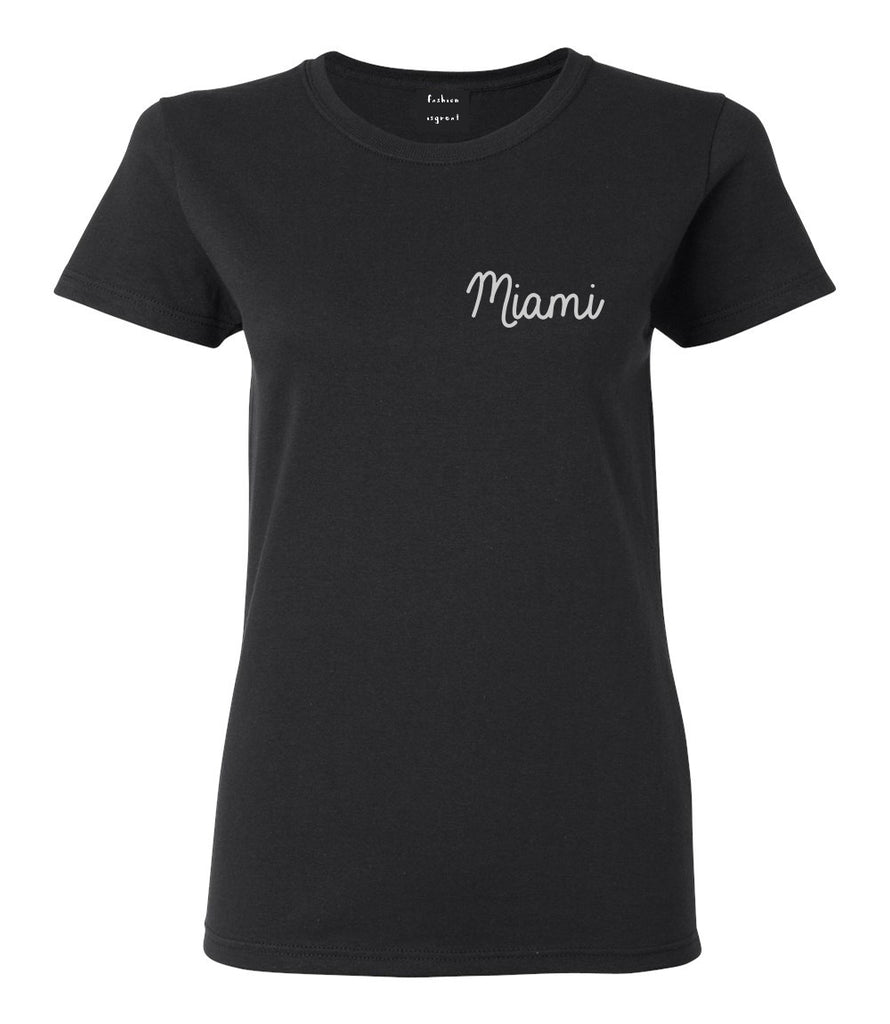 Miami Florida Script Chest Black Womens T-Shirt