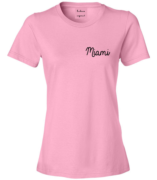 Miami Florida Script Chest Pink Womens T-Shirt