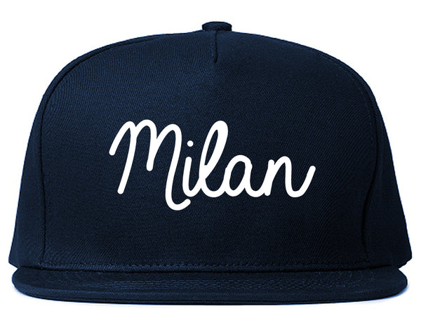 Milan Italy Script Chest Blue Snapback Hat