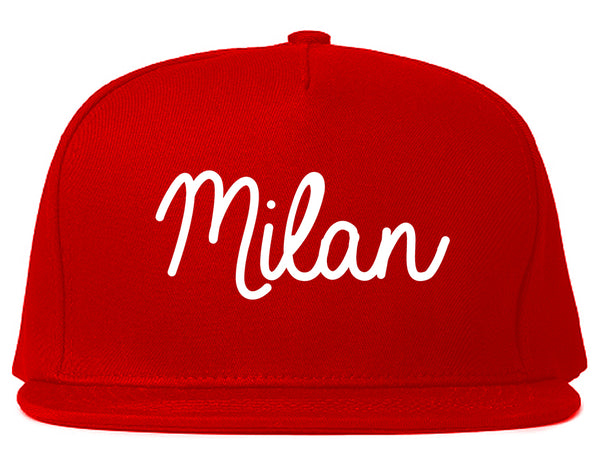 Milan Italy Script Chest Red Snapback Hat