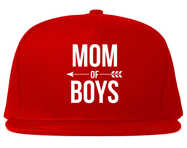 Mom Of Boys Arrow Red Snapback Hat