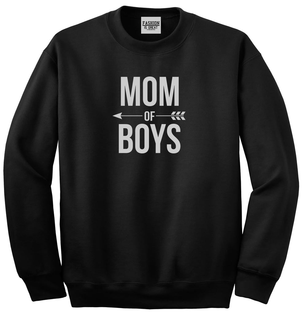 Mom Of Boys Arrow Black Womens Crewneck Sweatshirt