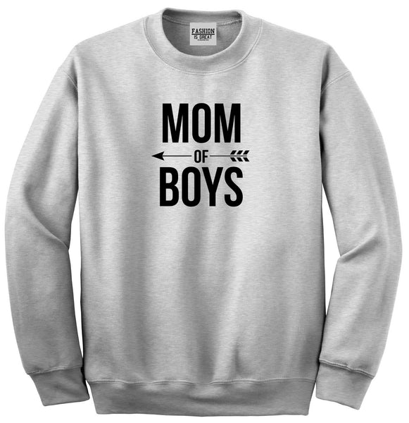 Mom Of Boys Arrow Grey Womens Crewneck Sweatshirt