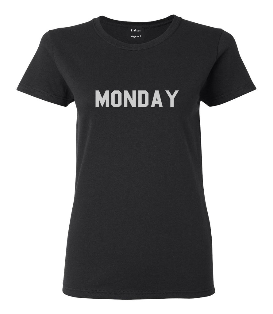 Monday Days Of The Week Black Womens T-Shirt
