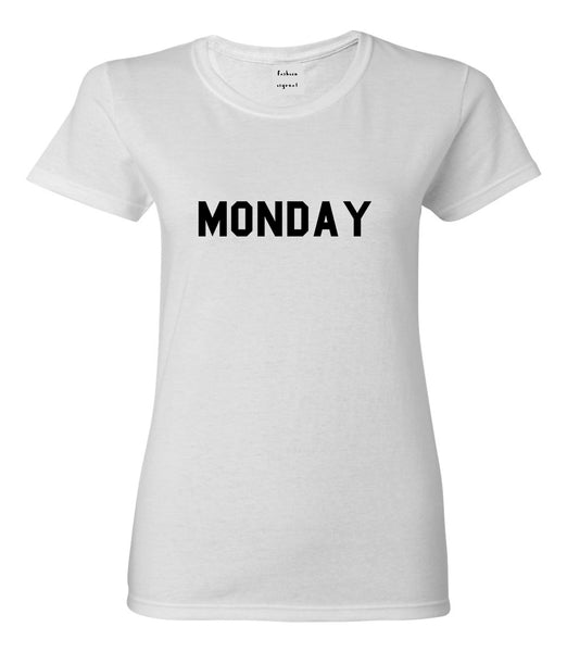 Monday Days Of The Week White Womens T-Shirt