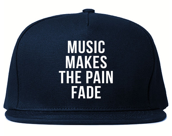 Music Makes The Pain Fade Snapback Hat Blue