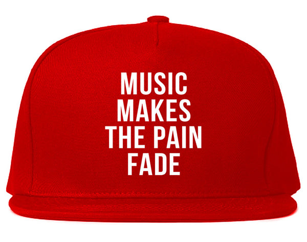 Music Makes The Pain Fade Snapback Hat Red