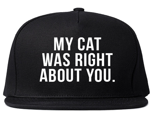 My Cat Was Right About You Pet Lover Snapback Hat Black