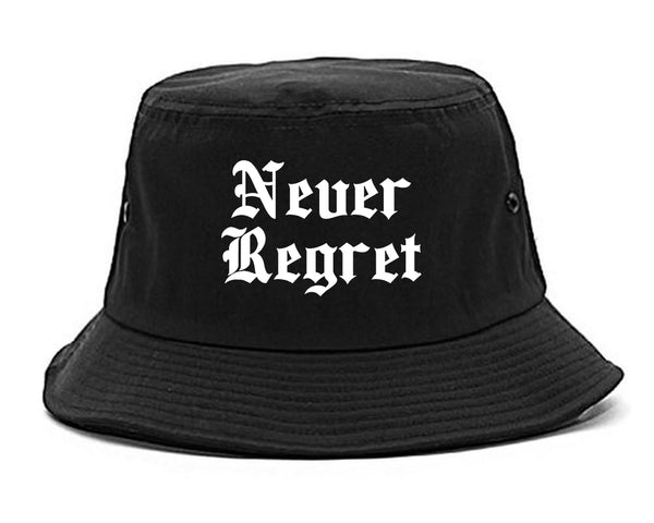 Never Regret black Bucket Hat