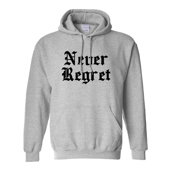 Never Regret Grey Womens Pullover Hoodie