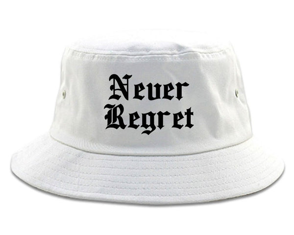 Never Regret white Bucket Hat