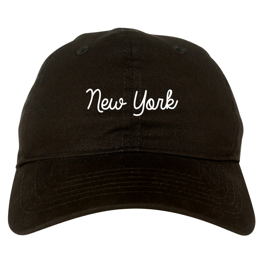 New York NY Script Chest black dad hat