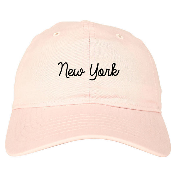 New York NY Script Chest pink dad hat