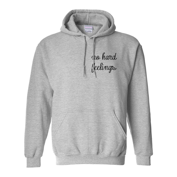 No Hard Feelings Chest Grey Womens Pullover Hoodie