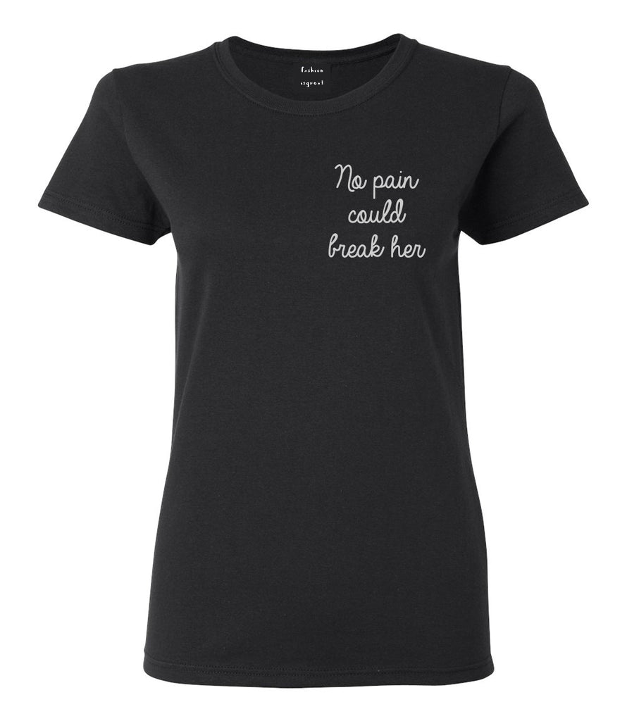 No Pain Strong Woman Chest Black Womens T-Shirt