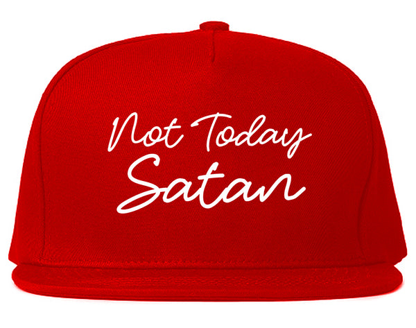 Not Today Satan Funny Red Snapback Hat