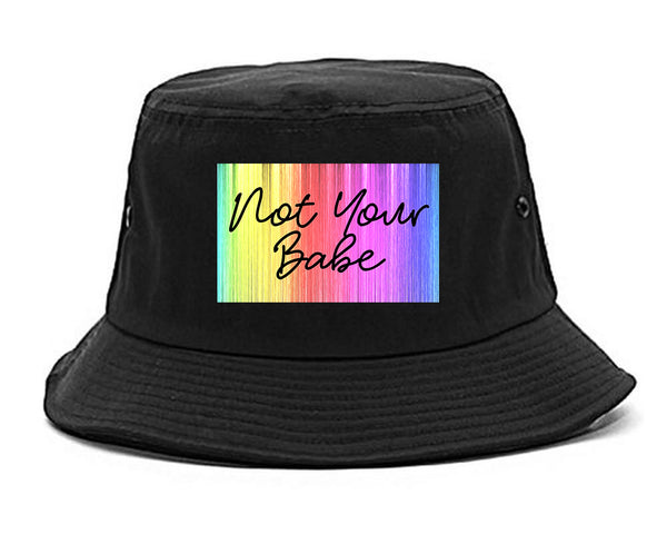Not Your Babe Rainbow black Bucket Hat
