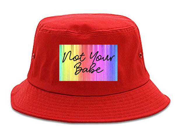 Not Your Babe Rainbow red Bucket Hat