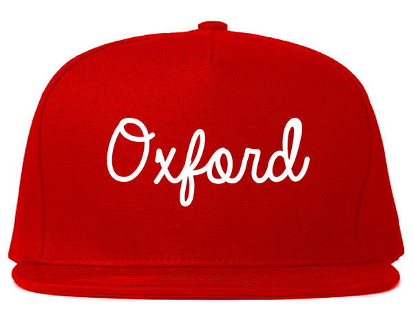 Oxford Britain Script Chest Red Snapback Hat
