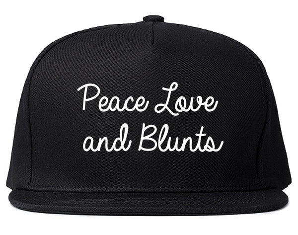 Peace Love Blunts Weed 420 Snapback Hat Black
