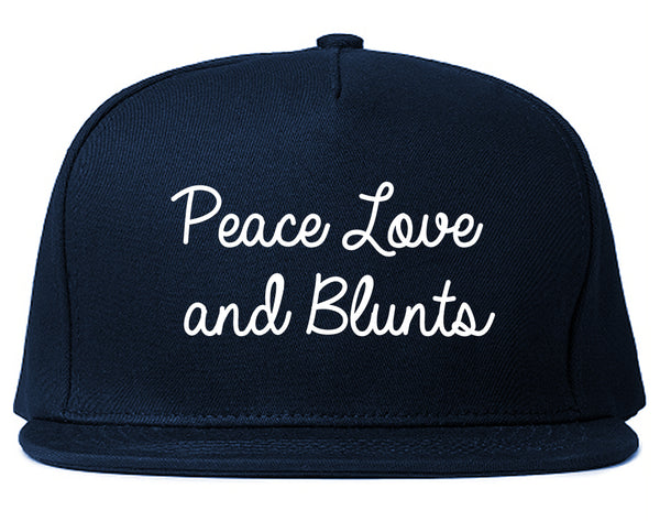 Peace Love Blunts Weed 420 Snapback Hat Blue