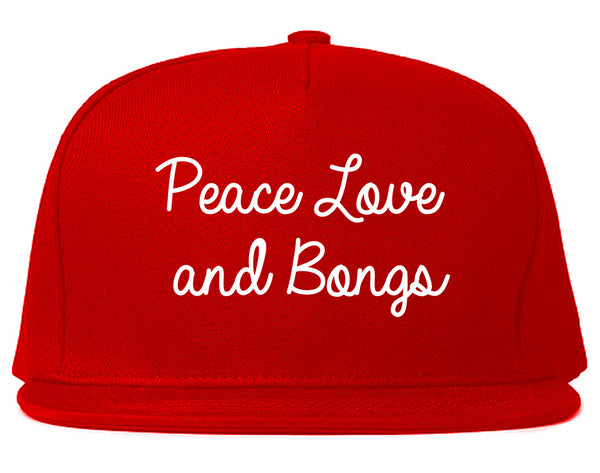 Peace Love Bongs Weed Pot Snapback Hat Red