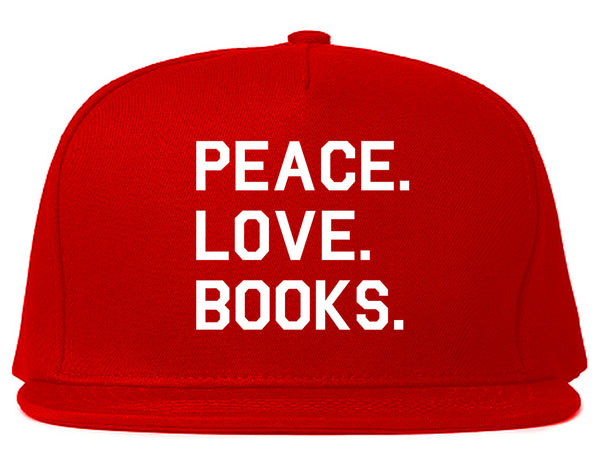 Peace Love Books Red Snapback Hat