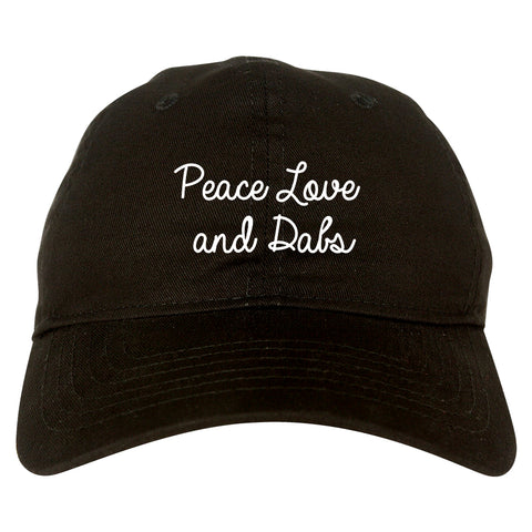 Peace Love Dabs Weed Pot Dad Hat Black