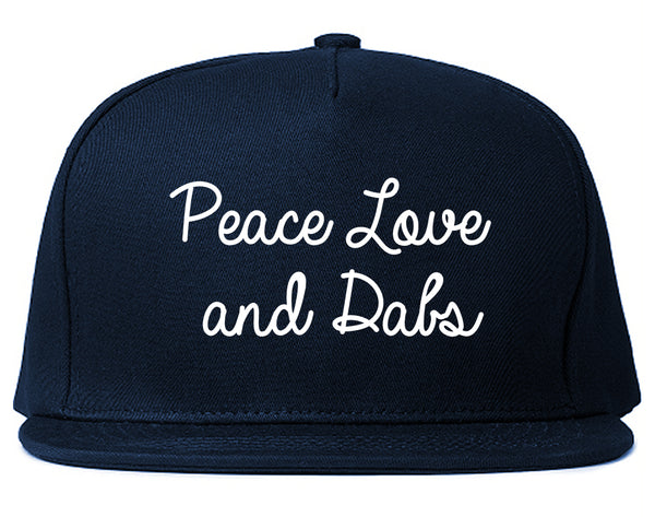Peace Love Dabs Weed Pot Snapback Hat Blue