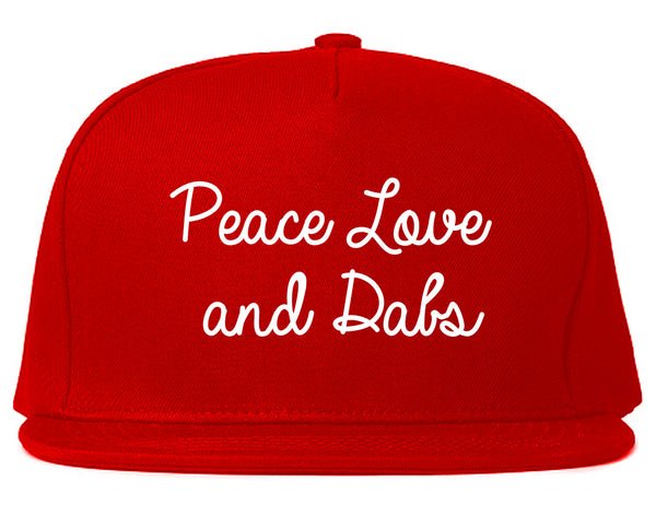 Peace Love Dabs Weed Pot Snapback Hat Red