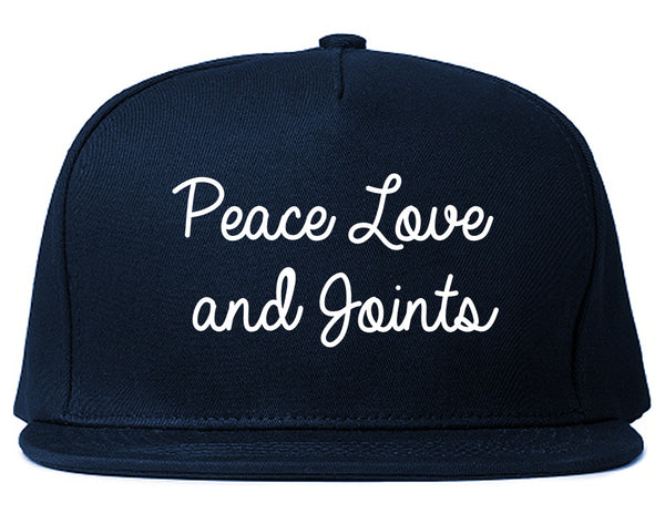 Peace Love Joints Weed 420 Snapback Hat Blue