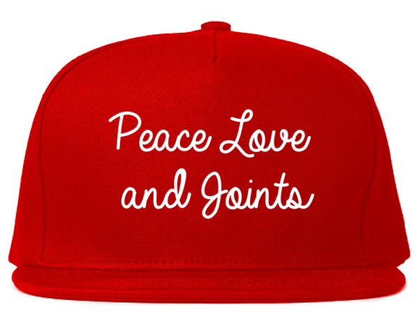 Peace Love Joints Weed 420 Snapback Hat Red