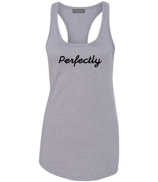 Perfectly Script Chest Womens Racerback Tank Top Grey