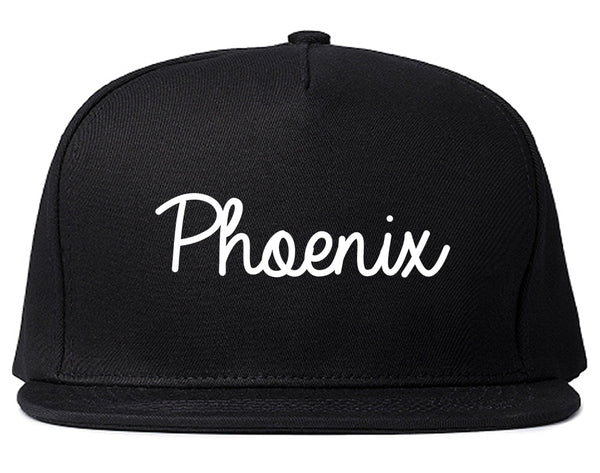 Phoenix Arizona Script Chest Black Snapback Hat