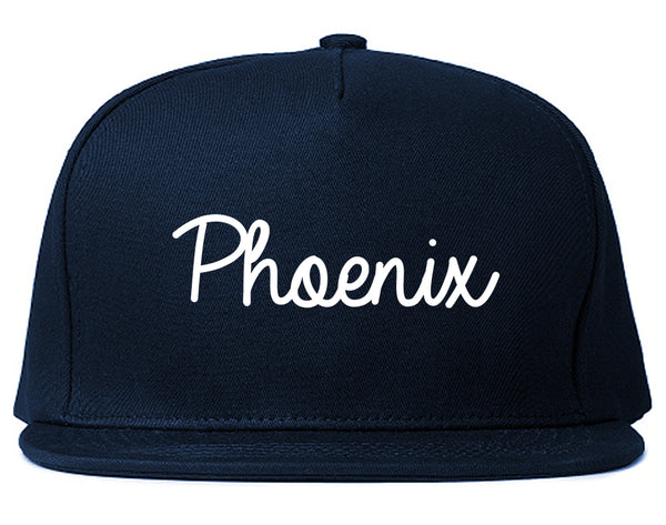 Phoenix Arizona Script Chest Blue Snapback Hat