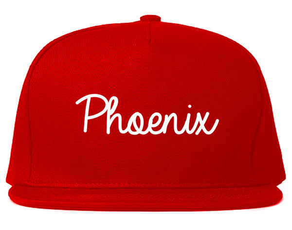 Phoenix Arizona Script Chest Red Snapback Hat
