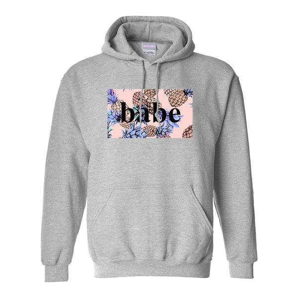 Pineapple Babe Fruit Grey Womens Pullover Hoodie