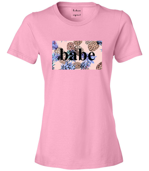 Pineapple Babe Fruit Pink Womens T-Shirt