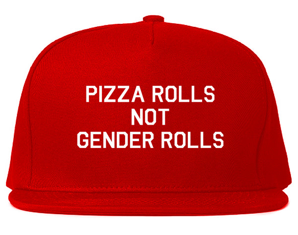 Pizza Rolls Not Gender Rolls Red Snapback Hat