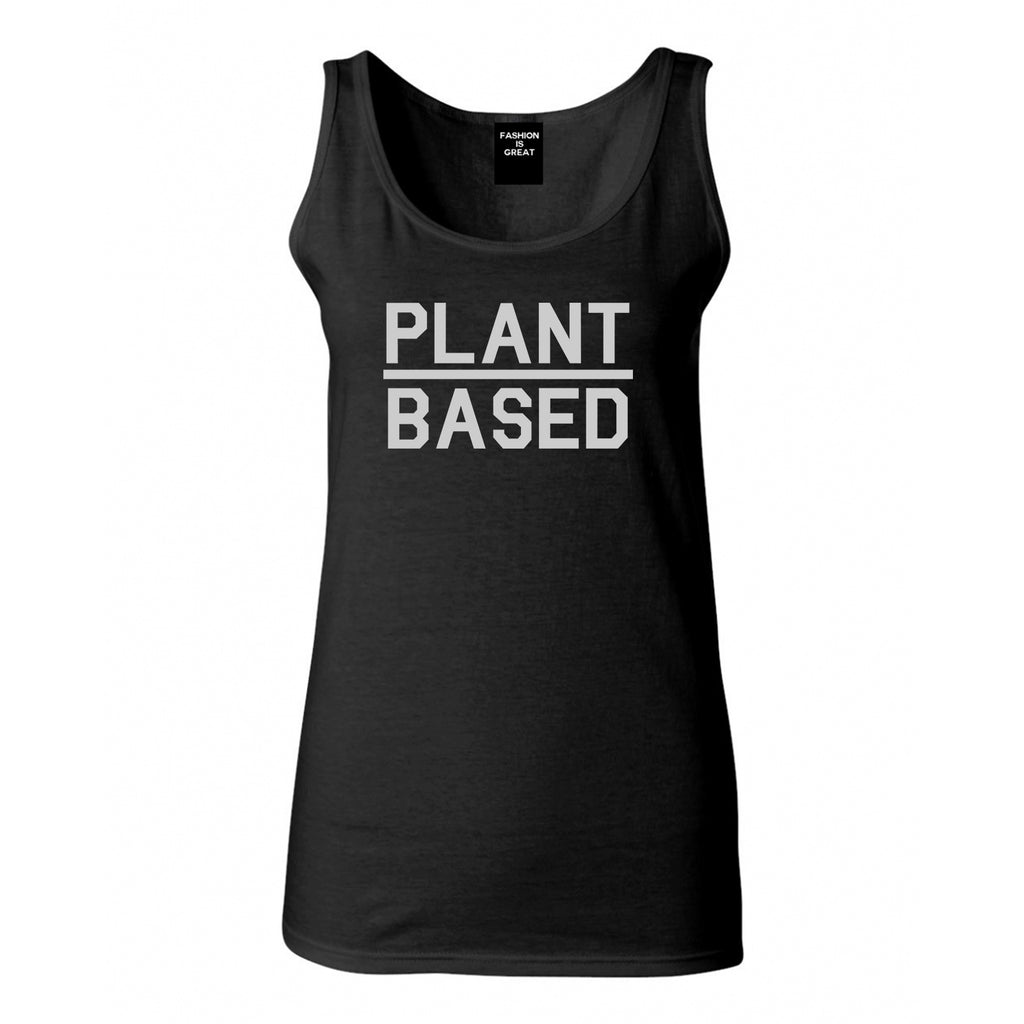 Plant Based Green Vegan Black Womens Tank Top