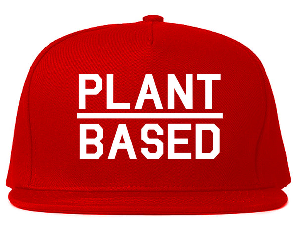 Plant Based Green Vegan Red Snapback Hat