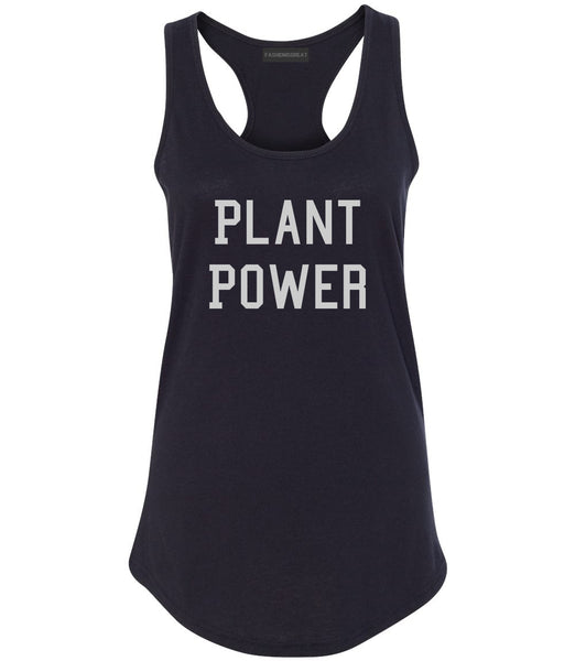 Plant Power Womens Racerback Tank Top Black
