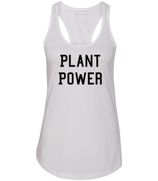 Plant Power Womens Racerback Tank Top White