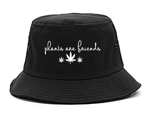 Plants Are Friends Pot Leaf 420 Bucket Hat Black