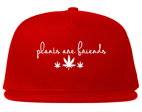 Plants Are Friends Pot Leaf 420 Snapback Hat Red