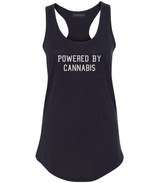 Powered By Cannabis Womens Racerback Tank Top Black