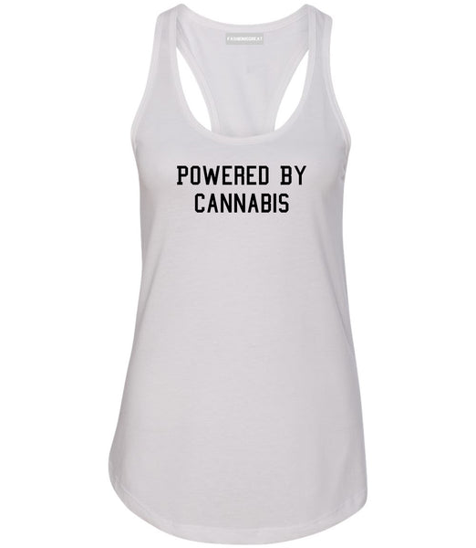Powered By Cannabis Womens Racerback Tank Top White