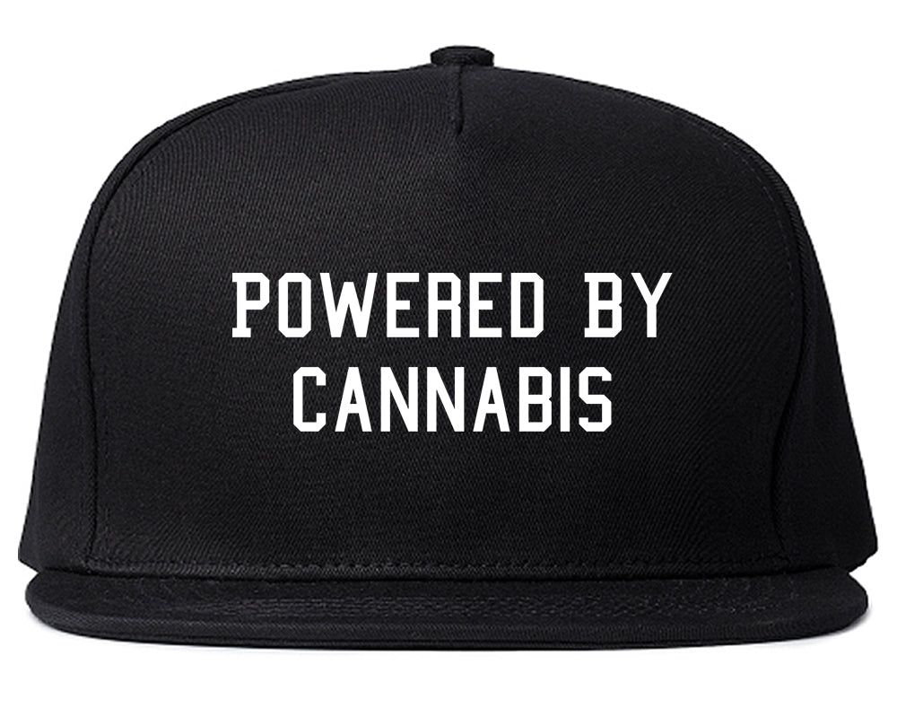 Powered By Cannabis Snapback Hat Black