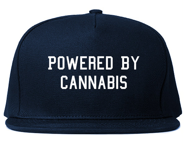 Powered By Cannabis Snapback Hat Blue