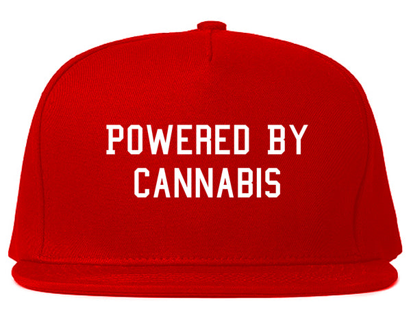 Powered By Cannabis Snapback Hat Red